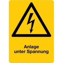 Anlage unter Spannung, kombiniert mit Symbol Warnung vor elektrischer Spannung (W012)
