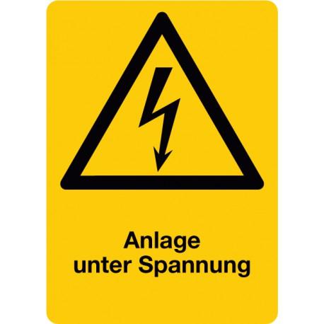 Anlage unter Spannung, Symbol Warnung vor elektrischer Spannung