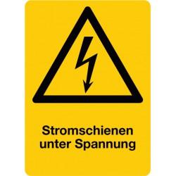Stromschienen unter Spannung, kombiniert mit Symbol Warnung vor elektrischer Spannung (W012)