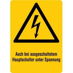 Auch bei ausgeschaltetem Hauptschalter unter Spannung, kombiniert mit Symbol Warnung vor elektrischer Spannung (W012)