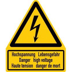 Kombischild Warnung vor elektrischer Spannung, 3-sprachig deutsch, englisch und französisch