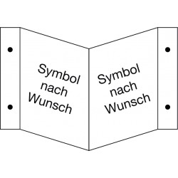 Winkelschild neutrale Ausführung, wahlweise mit Symbol nach Wunsch
