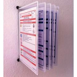 Wandhalter aus Metall mit 5 Stück blanko Klapprahmen für 10 Betriebsanweisungen