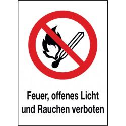Kombischild Feuer, offenes Licht und Rauchen verboten (P003)