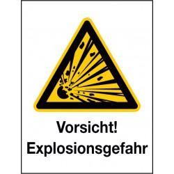 Kombischild Vorsicht! Explosionsgefahr (W002)