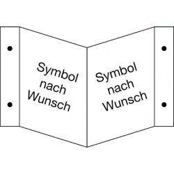 Winkelschild (Notausgang/Rettungsweg) neutral mit nachleuchtenden Symbolen nach Wunsch