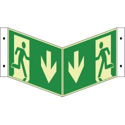 Winkelschild Notausgang, nachleuchtend (E001+E002)