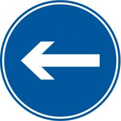 Vorgeschriebene Fahrtrichtung hier links