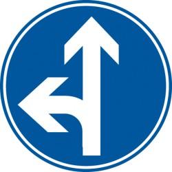 Vorgeschriebene Fahrtrichtung geradeaus und links
