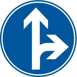 Vorgeschriebene Fahrtrichtung geradeaus und rechts