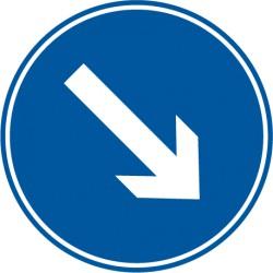 Vorgeschriebene Vorbeifahrt rechts vorbei