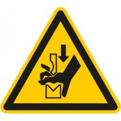 Warnung vor Quetschgefahr der Hand zwischen den Werkzeugen einer Presse (W030)