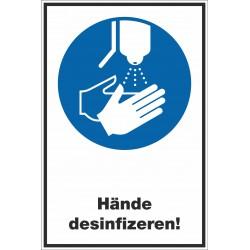 Kombischild Hände desinfizieren!