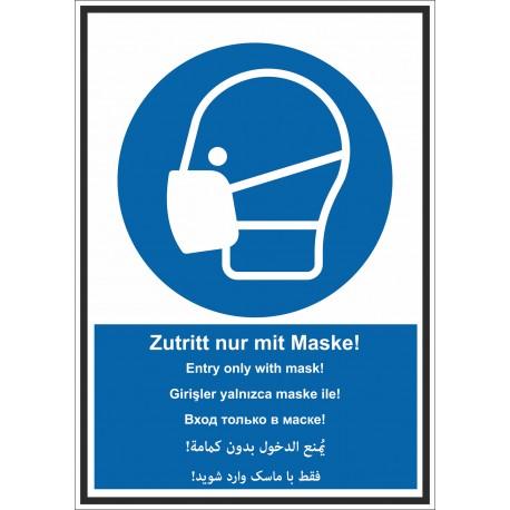 Kombischild Zutritt nur mit Maske mehrsprachig