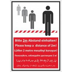 Kombischild Bitte 2m Abstand einhalten mehrsprachig