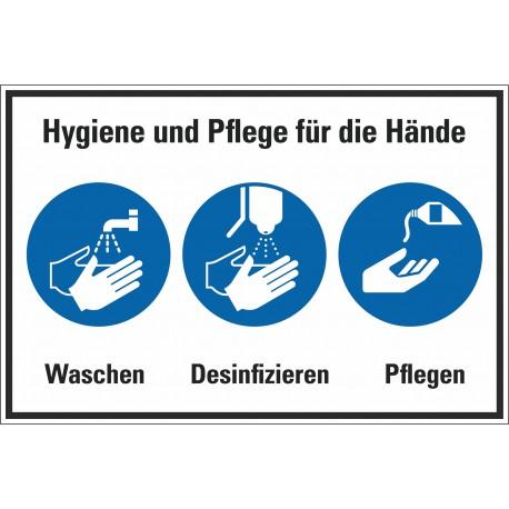 Kombischild Hygiene und Pflege für die Hände