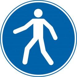 Sicherheitszeichen für den Boden - Fußgängerweg benutzen