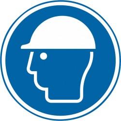 Sicherheitszeichen für den Boden - Kopfschutz benutzen