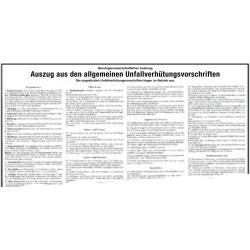 Auszug aus den allgemeinen Unfallverhütungsvorschriften
