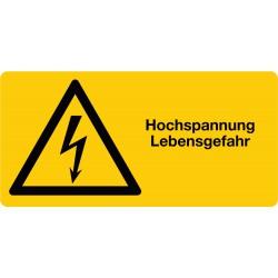 Hochspannung Lebensgefahr kombiniert mit Symbol Warnung vor elektrischer Spannung, Querformat