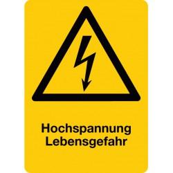 Hochspannung Lebensgefahr kombiniert mit Symbol Warnung vor elektrischer Spannung, Hochformat
