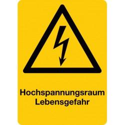 Hochspannungsraum Lebensgefahr, kombiniert mit Symbol Warnung vor elektrischer Spannung (W012)