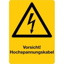 Vorsicht Hochspannungskabel, kombiniert mit Symbol Warnung vor elektrischer Spannung (W012)