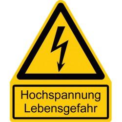 Hochspannung Lebensgefahr kombiniert mit Symbol Warnung vor elektrischer Spannung
