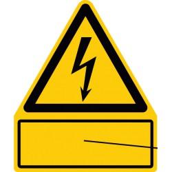 Kombischild max. 20 Zeichen, Text nach Wunsch, Symbol Warnung vor elektrischer Spannung