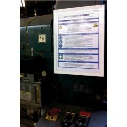 Wechselrahmen zum Einschieben selbsterstellter Betriebsanweisungen, Gefahrstoff-Datenblätter etc.