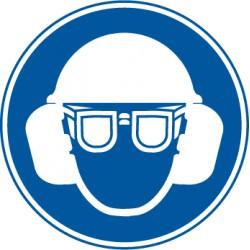 Eitkett  Gehörschutz, Augenschutz und Kopfschutz benutzen