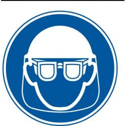 Etikett Schutzbrille und Gesischtsschutzschild benutzen