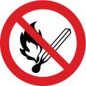 Etikett Keine offene Flamme, Feuer, offene Zündquelle und Rauchen verboten (P003)