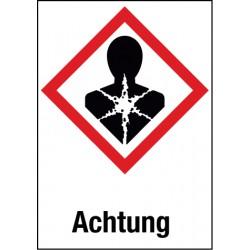 Etikett Achtung, Krebserzeugend, mutagen, reproduktionstoxisch, (GHS 08)