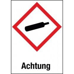 Etikett Achtung, Unter Druck stehende Gase (GHS 04)