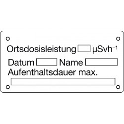 Ortsdosisleistung, Datum, Name, Aufenthaltsdauer max.