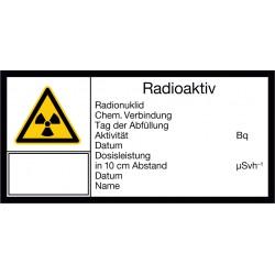 Radioaktiv, Radionuklid, Chem. Verbindung, Tag der Abfüllung, Aktivität, Datum, Dosisleistung in 10 cm Abstand, Datum, Name
