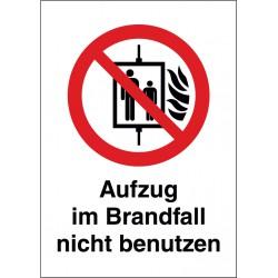 Kombischild Aufzug im Brandfall nicht benutzen (P020)