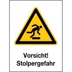 Kombischild Vorsicht! Stolpergefahr (W007)