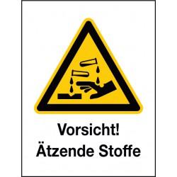 Kombischild Vorsicht! Ätzende Stoffe (W023)