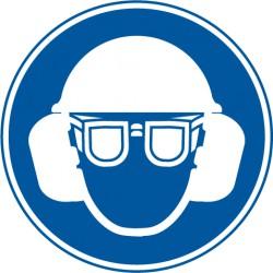 Gehörschutz, Augenschutz und Kopfschutz benutzen