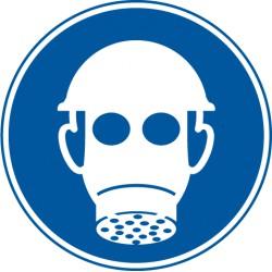 Atemschutz und Kopfschutz benutzen